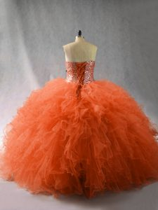 Flirting Tulle Sweetheart Sleeveless Lace Up Beading and Ruffles Quinceanera Gowns in Orange Red