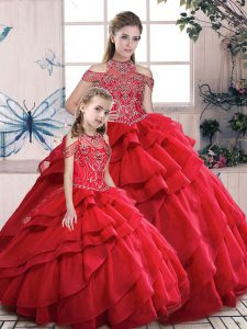 Super Sleeveless Beading and Ruffles Lace Up Quinceanera Dress
