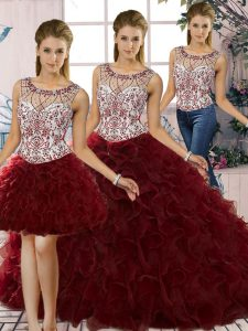 Scoop Sleeveless 15 Quinceanera Dress Floor Length Beading and Ruffles Burgundy Organza