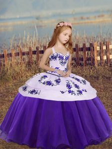 Cute Eggplant Purple and Purple Organza Lace Up Pageant Gowns For Girls Sleeveless Floor Length Embroidery