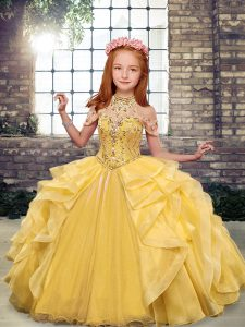 Gold Sleeveless Floor Length Beading and Ruffles Lace Up Little Girls Pageant Dress Wholesale