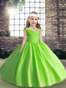 Spaghetti Straps Sleeveless Child Pageant Dress Floor Length Beading and Ruching Tulle