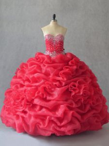 Coral Red Ball Gowns Sweetheart Sleeveless Floor Length Lace Up Beading and Pick Ups Quinceanera Dress