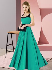Modest Floor Length Turquoise Quinceanera Court of Honor Dress Chiffon Sleeveless Belt