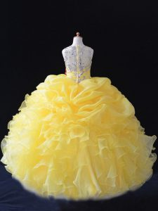 Yellow Ball Gowns Straps Sleeveless Organza Floor Length Zipper Beading and Ruffles and Pick Ups Girls Pageant Dresses