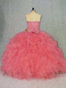 Floor Length Lace Up Sweet 16 Dress Watermelon Red for Sweet 16 and Quinceanera with Beading and Ruffles