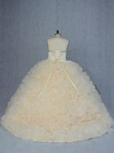 Deluxe Light Yellow Sleeveless Beading and Ruffles Lace Up Quinceanera Dress