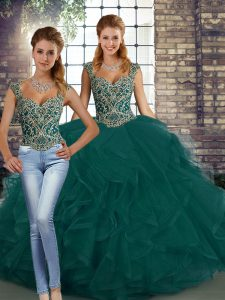 Flirting Sleeveless Lace Up Floor Length Beading and Ruffles Quince Ball Gowns