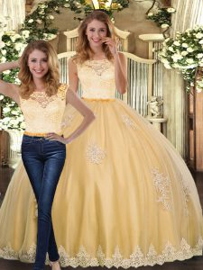Extravagant Gold Scoop Neckline Lace and Appliques Quinceanera Dresses Sleeveless Clasp Handle