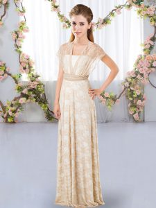 Champagne Damas Dress Wedding Party with Lace V-neck Short Sleeves Side Zipper