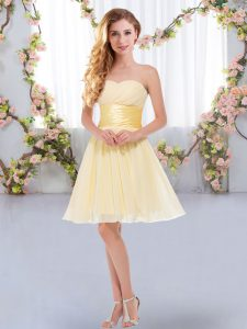 Mini Length Lace Up Damas Dress Yellow for Wedding Party with Belt