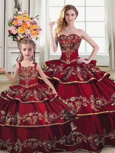 Wine Red Ball Gowns Sweetheart Sleeveless Satin and Organza Floor Length Lace Up Embroidery and Ruffled Layers 15th Birthday Dress