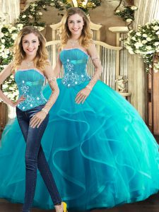 Floor Length Aqua Blue Quinceanera Gowns Tulle Sleeveless Beading and Ruffles