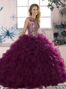 Dark Purple Sleeveless Beading and Ruffles Floor Length Quinceanera Gown