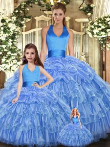 Baby Blue Organza Lace Up Halter Top Sleeveless Floor Length Quinceanera Dresses Ruffles and Pick Ups