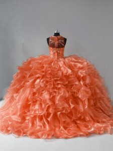 High Class Beading and Ruffles Quinceanera Dress Orange Zipper Sleeveless Brush Train