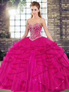 Fine Fuchsia Ball Gowns Sweetheart Sleeveless Tulle Floor Length Lace Up Beading and Ruffles Sweet 16 Dresses