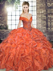 Sleeveless Floor Length Beading and Ruffles Lace Up Quinceanera Dresses with Orange Red