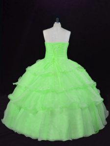 Organza Lace Up Sweetheart Sleeveless Floor Length Quinceanera Dress Beading and Ruffles