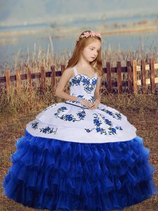 Royal Blue Straps Neckline Embroidery and Ruffled Layers Little Girls Pageant Dress Wholesale Long Sleeves Lace Up