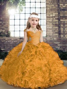 Straps Sleeveless Fabric With Rolling Flowers Child Pageant Dress Beading Lace Up