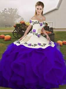 Chic Ball Gowns Sweet 16 Dress White And Purple Off The Shoulder Tulle Sleeveless Floor Length Lace Up