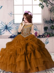 Gorgeous Brown Zipper Little Girls Pageant Gowns Beading and Pick Ups Sleeveless Floor Length