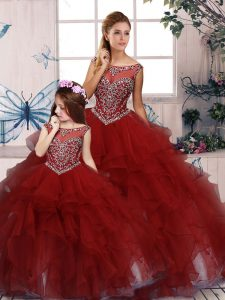 Burgundy Ball Gowns Scoop Sleeveless Organza Floor Length Zipper Beading and Ruffles Quinceanera Gown