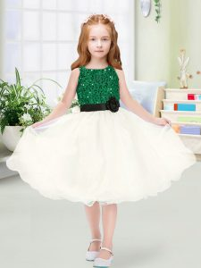 Popular Champagne Toddler Flower Girl Dress Wedding Party with Sequins and Hand Made Flower Scoop Sleeveless Zipper