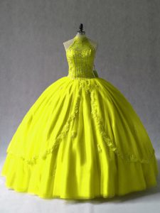 Yellow Green Halter Top Lace Up Appliques Quinceanera Dresses Sleeveless