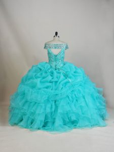 Smart Sleeveless Floor Length Beading and Ruffles Lace Up Quinceanera Dress with Aqua Blue