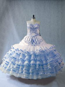 Noble Blue And White Sweetheart Lace Up Embroidery and Ruffled Layers 15 Quinceanera Dress Sleeveless