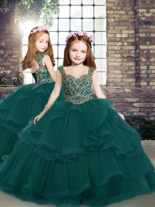 Peacock Green Lace Up Straps Beading and Ruffles Child Pageant Dress Tulle Sleeveless