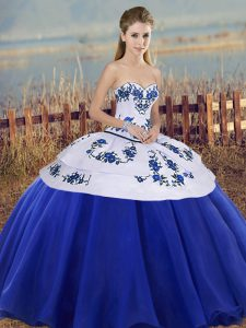 Royal Blue Lace Up Sweetheart Embroidery Quinceanera Gowns Tulle Sleeveless