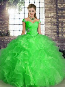 Exquisite Organza Off The Shoulder Sleeveless Lace Up Beading and Ruffles Sweet 16 Dresses in Green