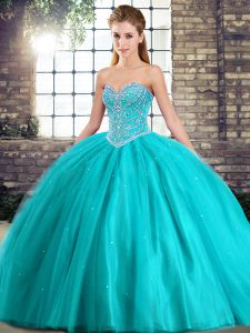 Most Popular Aqua Blue Sweetheart Lace Up Beading Quinceanera Dresses Brush Train Sleeveless
