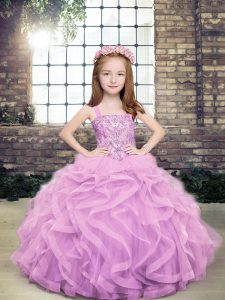 Sleeveless Tulle Floor Length Lace Up Kids Pageant Dress in Lavender with Beading and Ruffles