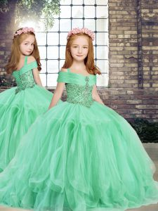 Pretty Ball Gowns Child Pageant Dress Apple Green Straps Tulle Sleeveless Floor Length Lace Up