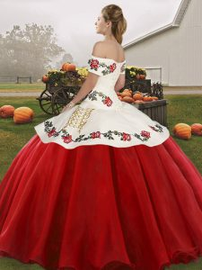 Brown Sleeveless Floor Length Embroidery Lace Up Sweet 16 Dresses