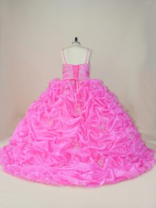 Decent Organza and Taffeta Sleeveless Ball Gown Prom Dress Brush Train and Beading and Appliques and Pick Ups