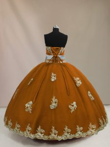 Inexpensive Sleeveless Tulle Floor Length Lace Up 15 Quinceanera Dress in Brown with Appliques