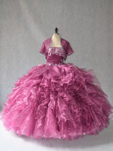 Burgundy Lace Up Quinceanera Gowns Beading and Ruffles Sleeveless Floor Length