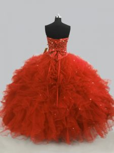 Floor Length Ball Gowns Sleeveless Rust Red Quinceanera Dresses Lace Up