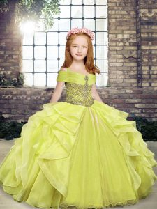 Stylish Floor Length Lace Up Kids Formal Wear Yellow Green for Party and Wedding Party with Beading and Ruffles