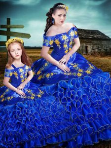 Popular Sleeveless Organza Floor Length Lace Up Quinceanera Dresses in Royal Blue with Embroidery and Ruffles