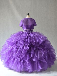 Designer Purple Strapless Lace Up Beading and Ruffles Quince Ball Gowns Sleeveless