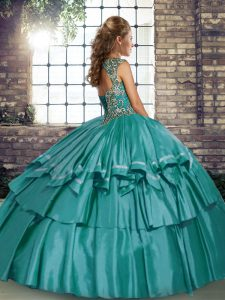 Teal Quinceanera Gowns Military Ball and Sweet 16 and Quinceanera with Beading and Ruffled Layers Straps Sleeveless Lace Up