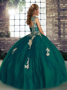 Peacock Green Tulle Lace Up Quinceanera Gowns Sleeveless Floor Length Beading and Appliques