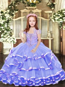 Sleeveless Floor Length Beading and Ruffled Layers Lace Up Kids Formal Wear with Lavender