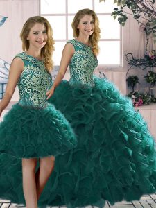 Floor Length Peacock Green 15th Birthday Dress Organza Sleeveless Beading and Ruffles